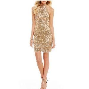B. Darlin Halter-Neck Sequin Lace Sheath Dress